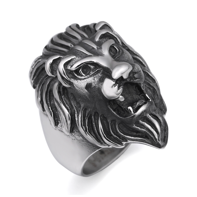 Portonary the king of lion fashion ring made of stainless steel in gray color for both man and women Beauty and jewelry