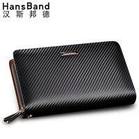 HansBand Men Wallet Genuine Leather Bag Fashion Handbags Double Zipper Men Clutch Bags Brand Hand Bag