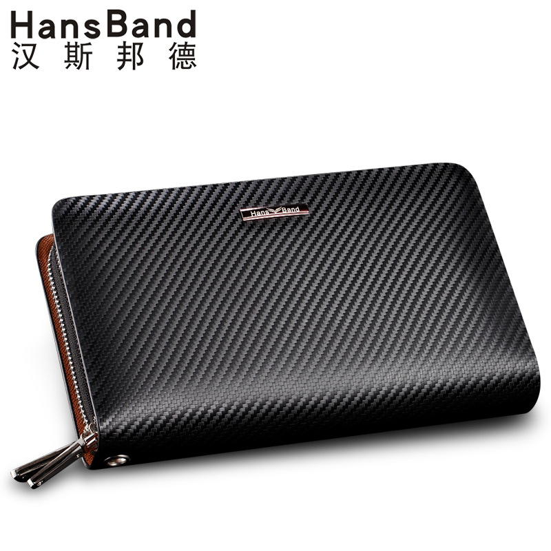 HansBand Men Wallet Genuine Leather Bag Fashion Handbags Double Zipper Men Clutch Bags Brand Hand Bag Luxury Business wallet hansband luxury brand men clutch wallet genuine leather hand bag classic multifunction mens high capacity clutch bags purses