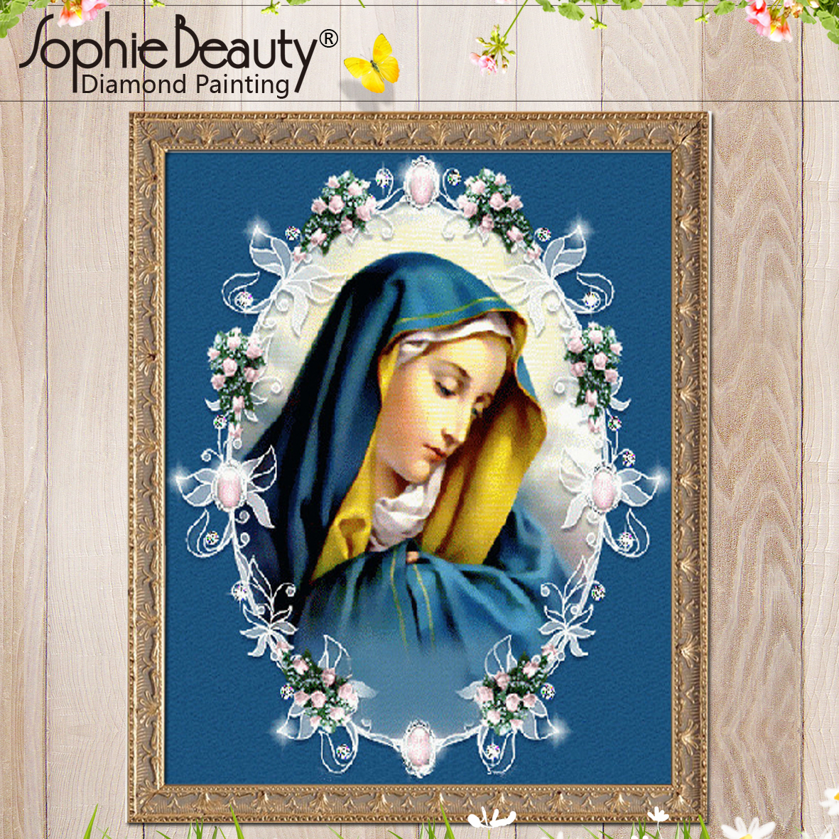 Diamond Painting Cross Stitch Resin Beaded Diamond Embroidery Blue Virgin Mary Sophie Beauty Handcraft Mosaic Arts Wall Sticker