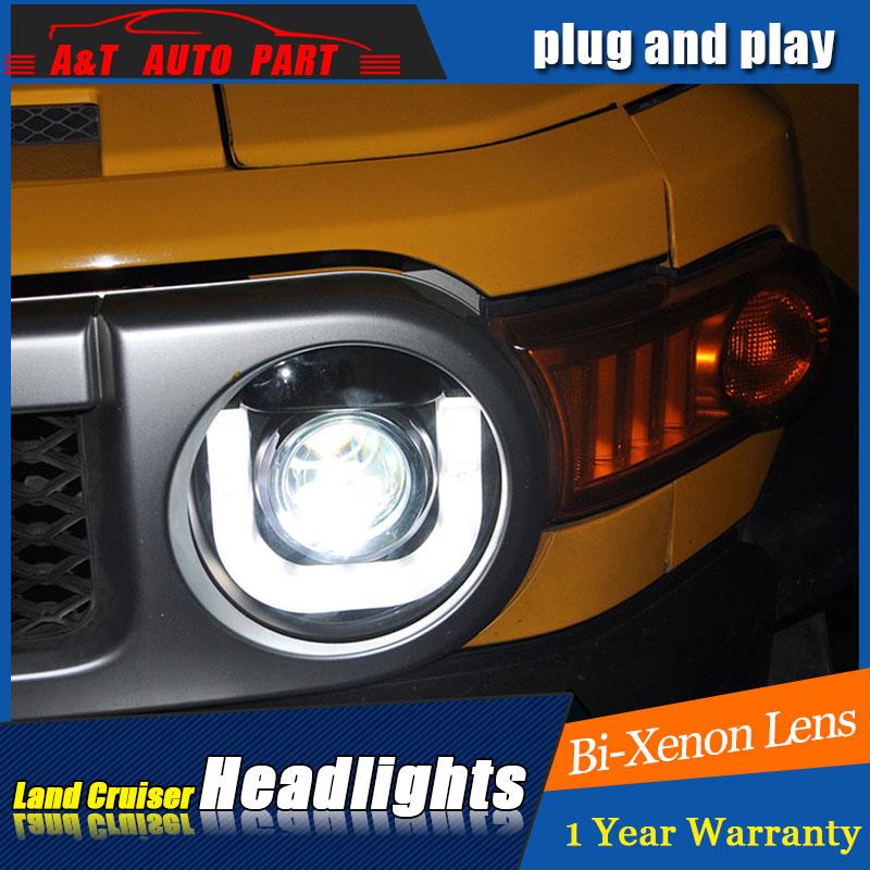 Авто Стиль часть светодиодный налобный фонарь для Тойота FJ Крю светодиодные фары 07-14 для FJ рейсе НИС реле DRL H7 спрятал Би-Ксеноновые линзы с низким ангел луча глаза