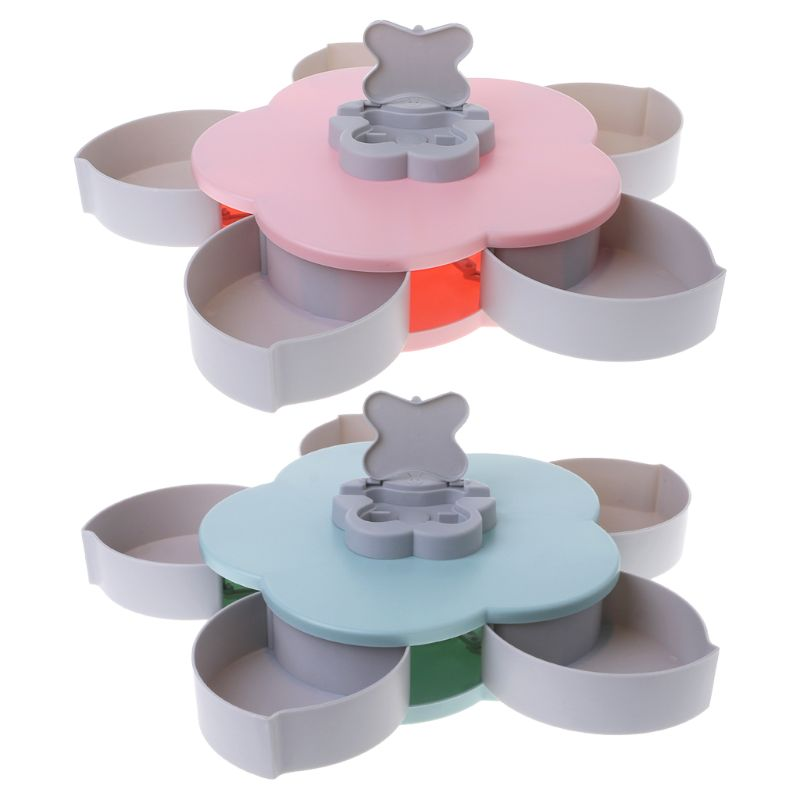 Petal Shaped Rotating Candy Box Dish Snacks Tray Creative Five Grid Compartments Dried Fruit Plate Party Serving