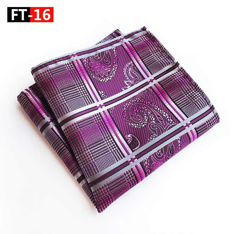 CityRaider marca rayas oro cuadrado de bolsillo en seda púrpura Paisley patrón para hombre azul oscuro pañuelos al por mayor VIP enlace C016