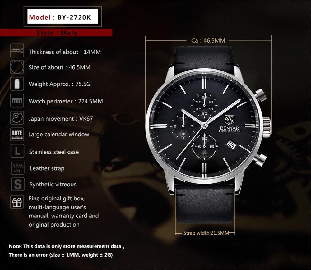 BENYAR mody luksusowej marki męskie skórzane zegarek kwarcowy zegarek biznes opakowanie ze stali nierdzewnej zegarki wodoodporne erkek kol saati w Zegarki kwarcowe od Zegarki na  Grupa 3