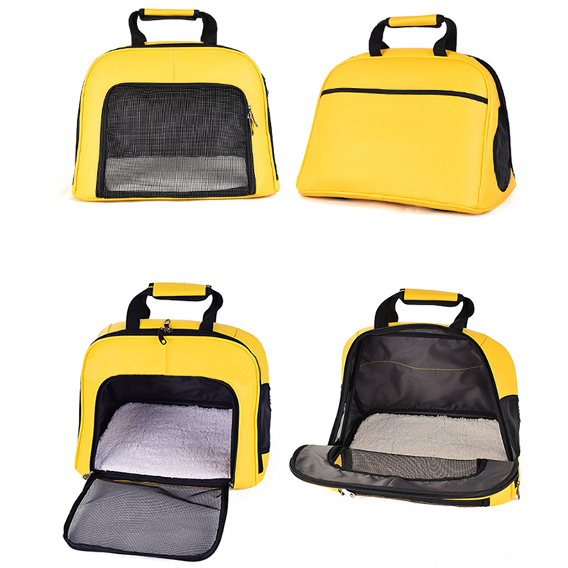 Pet Cat Carrier Foldable Travel Bag Breathable Outdoor Handbag Pet Production for Cats Dog Multi-functional Fashion Yellow 3
