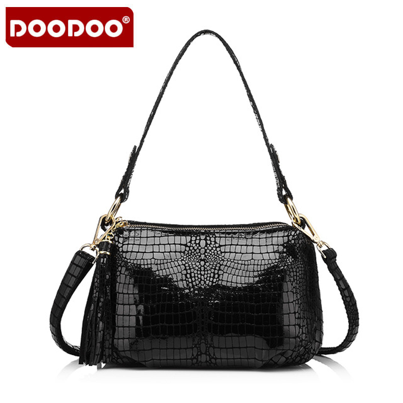 DOODOO Brand Genuine Leather Women Handbag Crocodile Pattern Flap Bag Female Shoulder Bag With Tassel Ladies Messenger Bag B559