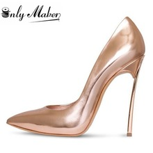 Onlymaker Women's 100% Metal Heel Sexy Party Shoes 12CM High Heel Pointed Toe Pumps Gold Color Shoes Wedding Shoes Big Size US14