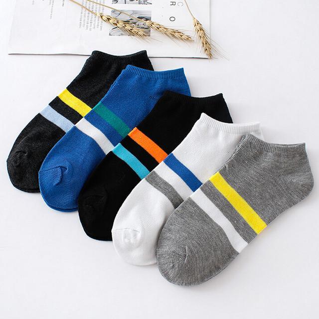 new design Fancinating Decoration 1Pair Unisex Comfortable Stripe Cotton Sock Slippers Short Ankle Stop Moisture Soxs#32845227702