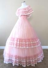 Pink Chiffon Gown Civil war costume renaissance dress satin dres