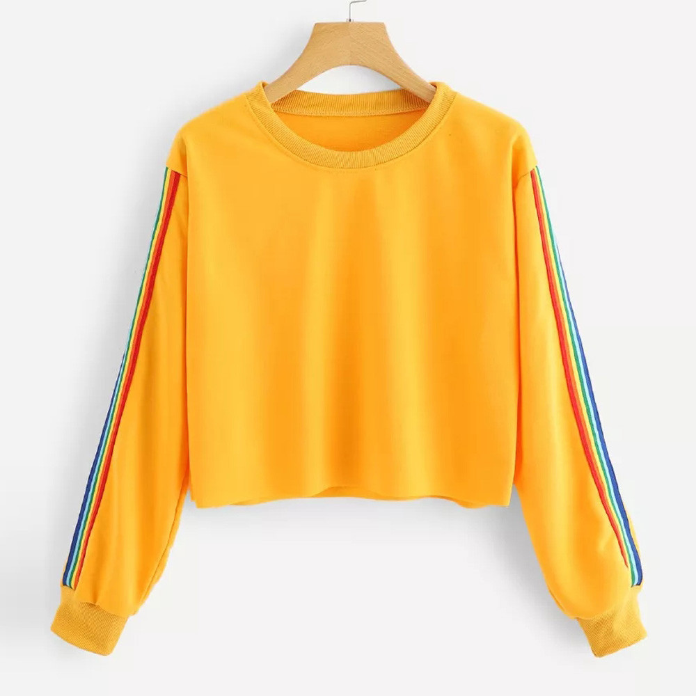 Women Long Sleeve Striped Patchwork O Neck Sweatshirt Casual Top Blouse Pullover