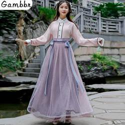 Китайский традиционный Женский костюм ханьфу, 2 предмета, сказочный костюм принцессы, Сетчатое платье, элегантное винтажное платье с