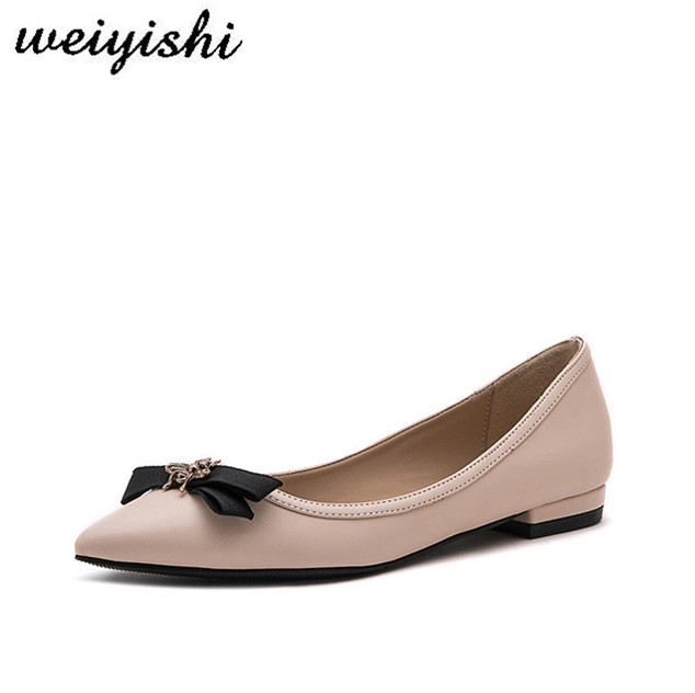 weiyishi 2019 lady office flats  women's shoes butterfuly-knot  pointed toe lady shoes