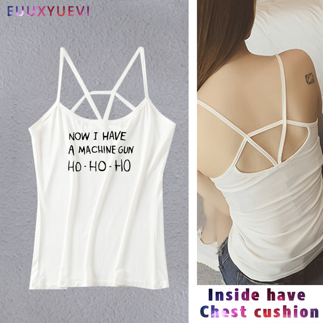 HO-HO-HO Now I Have A Machine Gun Printed women girl Casual Funny vest shirt tank Top Tee Funny Hipster Gray tanks camis