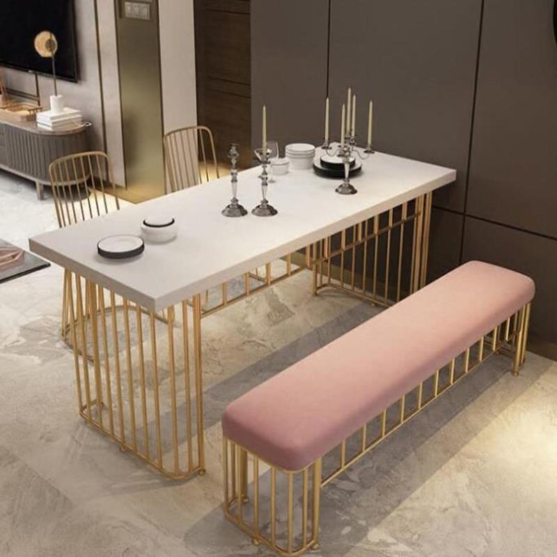 European iron art solid wood table golden milk tea shop coffee table