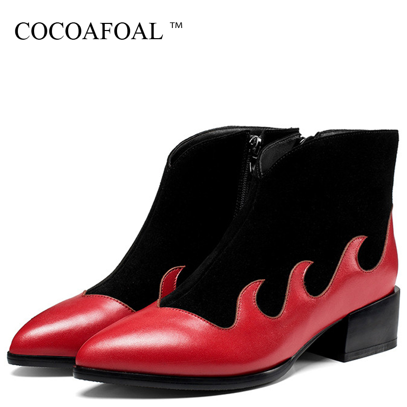 купить COCOAFOAL Women's Chelsea Boots Genuine Leather Shoes Woman Ankle Boots Autumn Winter Genuine Leather Plus Size 33 Martin Boots недорого