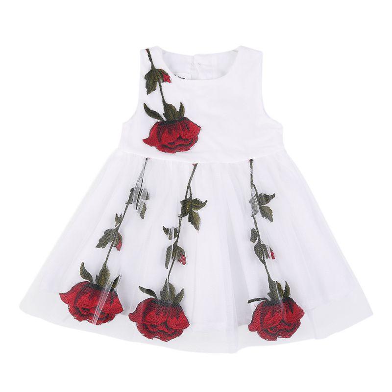 Summer Lovely Girls Fashion embroidered Rose Dress Children Kids Sleeveless O-Neck Mini Dress женское платье summer dress 2015cute o women dress