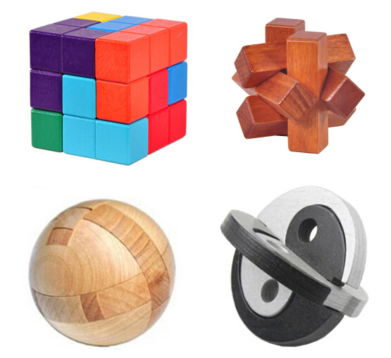 4pcs Per Set Iq Wooden Puzzle Mind Brain Teaser Burr