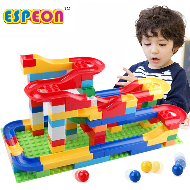 1set Funny Rolling Ball Rail Building Blocks Enlighten Brick Trajectory Learning Educational Toys For Baby Kids Chilrden 47Pcs 100pcs wooden building blocks brick kids educational learning toys set
