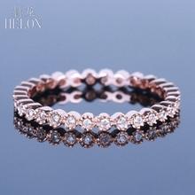 HELON יהלומים בנד מוצק 14K רוז זהב נשים תכשיטים של Milgrain Bezel 0.15ct יהלומים טבעיים אירוסין טבעת נישואים