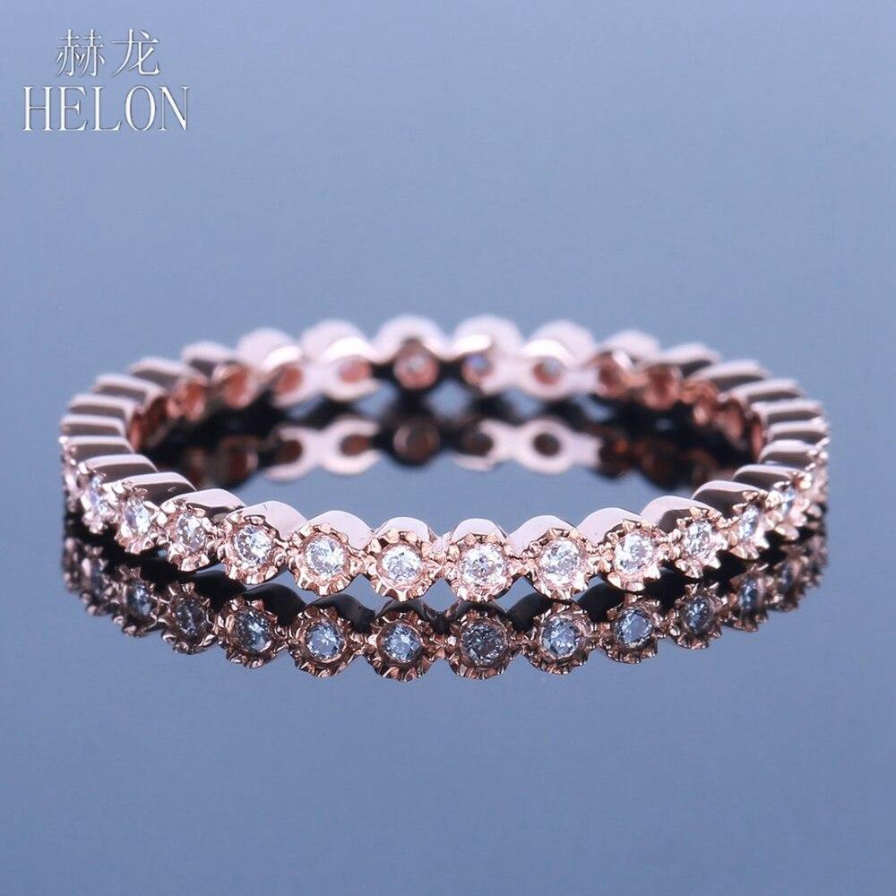HELON Diamanti Fascia Solido 14 k Oro Rosa Gioielleria Raffinata Diamanti Milgrain Lunetta 0.20ct Naturale delle Donne di Fidanzamento Anello di Cerimonia Nuziale