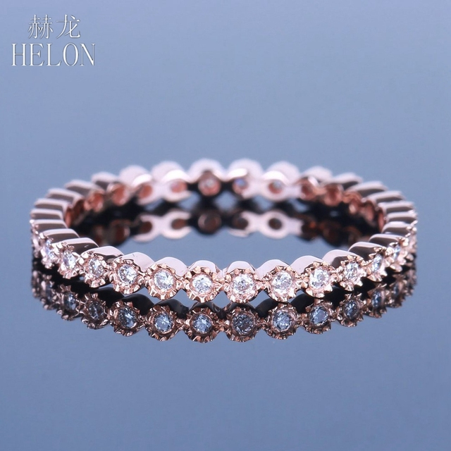 HELON Diamonds Band Solid 14K Rose Gold Fine Jewelry Womens Milgrain Bezel 0.15ct Natural Diamonds Engagement Wedding Ring