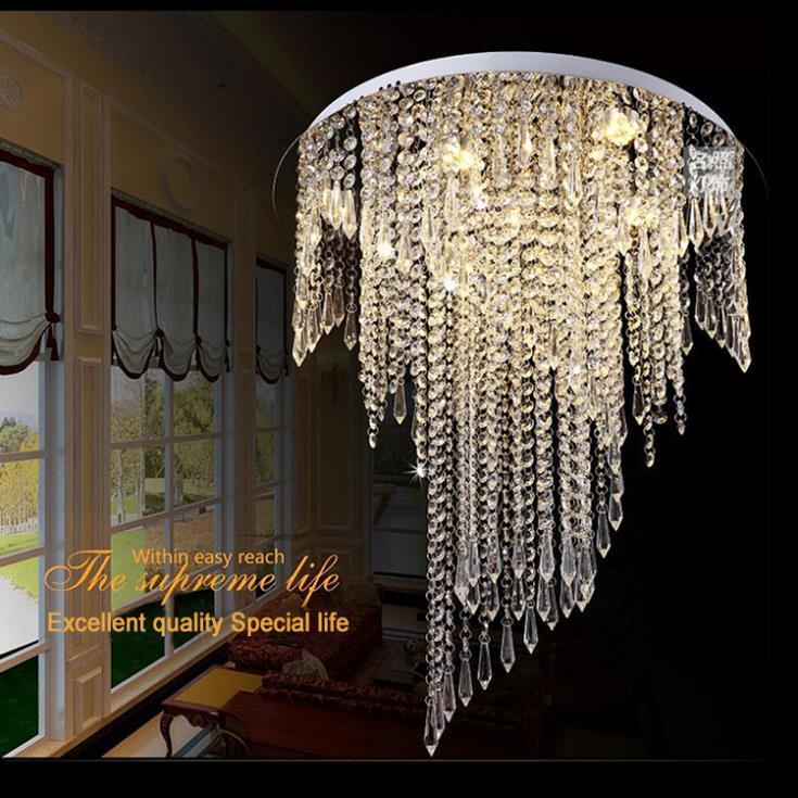 Modern spiral design flush mount K9 crystal ceiling chandeliers light fixtures Dia50*H55cm led bulbs Crystal Chandelier Modern