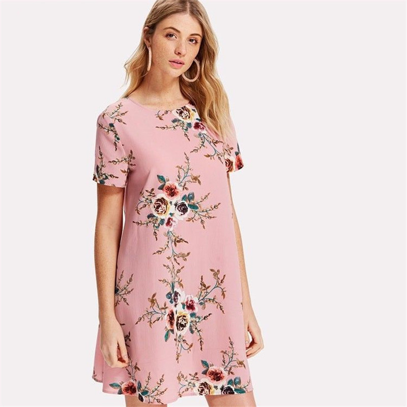 Summer new loose A word foreign trade original single floral dress Europe and the United States loose dress