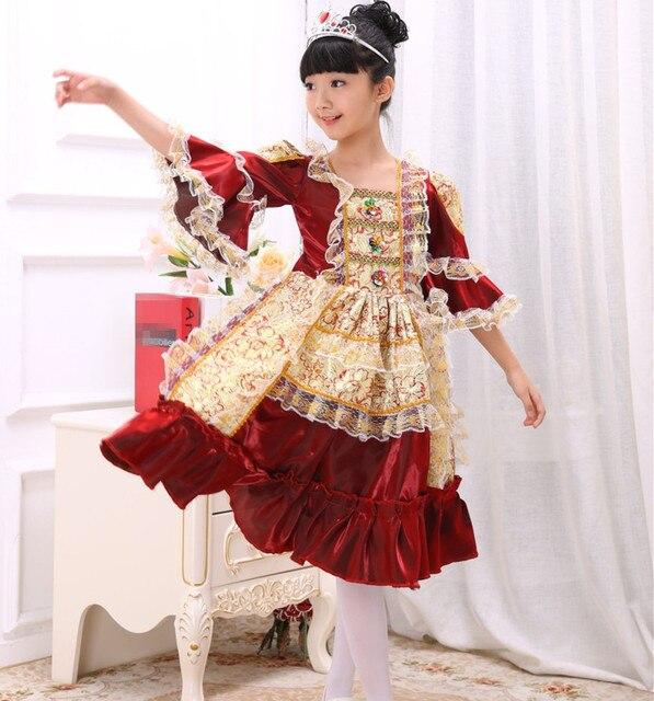 6b2d464269 Niños Niñas danza princesas Tribunal Europeo vestidos fantasias escenario  trajes de rendimiento etapa ruso tradicional vestido