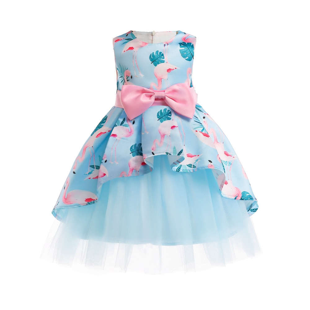 ZT2653 Summer Elegant Dress For Girl Kids Party Dress Girls Sleeveless Flamingo print Princess Dress Formal Evening Ball Gowns print sleeveless midi dress