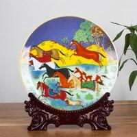 Colorful Horses Ceramic Ornamental Plate Decoration Plate Wood Base Porcelain Plate Set Wedding Gift