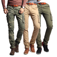 Men Cargo Pants Army Camouflage Clothing Military Tactical Combat Overalls Slim Casual Cotton Multi Pockets Long