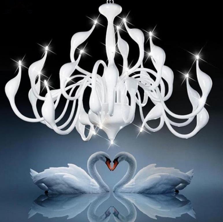 2018  Deco European Swan Chandeliers Candle Crystal LED Chandelier Ceiling Bedroom Living Room Modern Decoration G4 Lighting