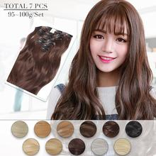 Neitsi 20 16 Clips 7Pcs/set Body Wave Full Head Clip In Synthetic Hair Curly Heat Resistant Hairpiece For Women