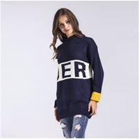 Fashion Women S New Spring Autumn Casual Sweater Fashion Round Neck Color Block Letters Sweaters Female