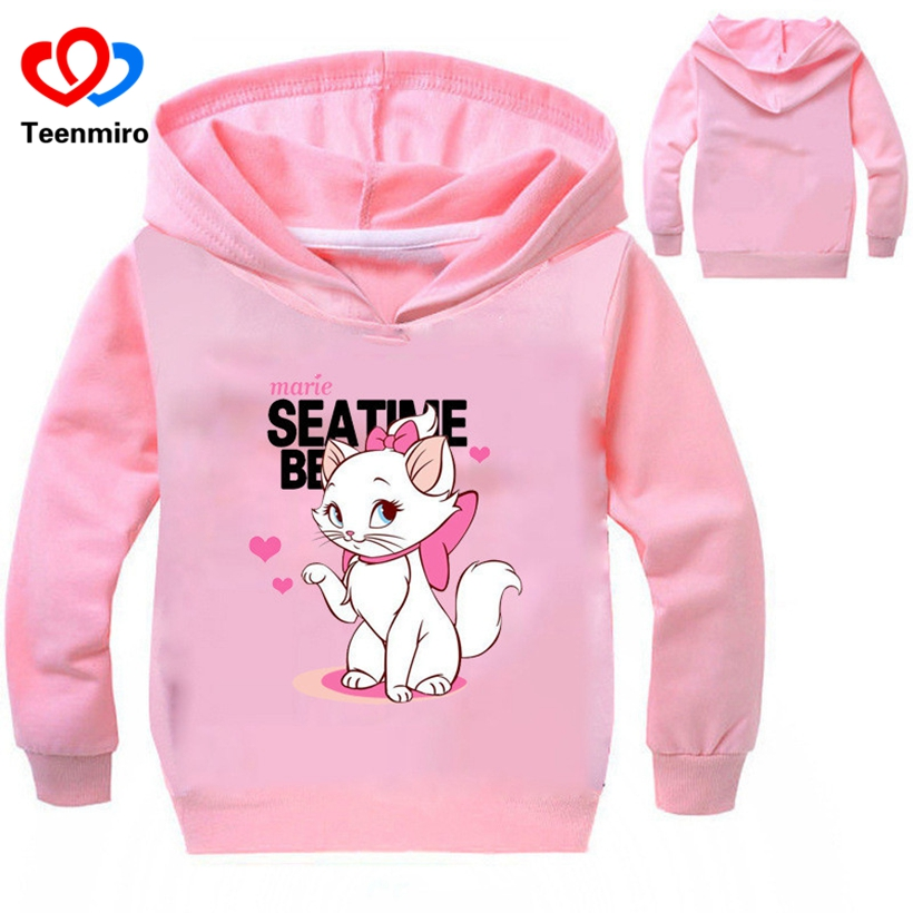 Spring New Cartoon Children Cat Hoodies Kids Baby Sweatshirt Coat Boys Girls Long Sleeve Cotton TShirts Toddler Outerwear Shirts round neck long sleeve 3d coins print sweatshirt