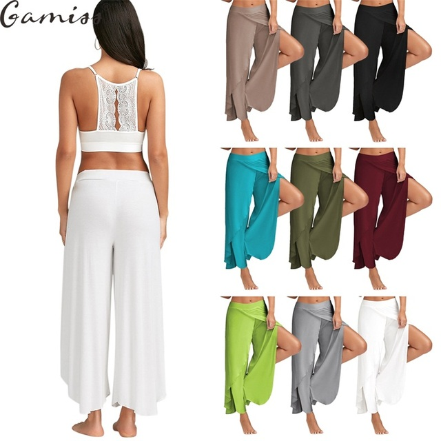 532944d6f631 Gamiss Cotton High Waist Women Wide Leg Pants Flowy Layered Slit Palazzo  Pants 2017 Summer Ladies