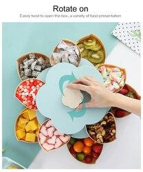 Kreatywny obrotowy pojemnik na przekąski plastikowy płatek podwójna pojedyncza warstwa talerz na owoce podzielony przekąska cukierki owoce orzechy miska przybory kuchenne w Naczynia i talerze od Dom i ogród na