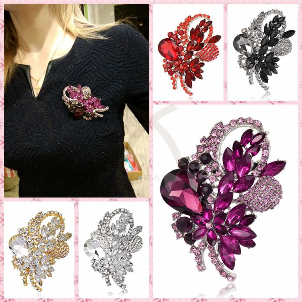 8.2 cm Large Size Brooches Wedding Jewelry Leaf Design Big Glass Brooch for Women Crystal Brooch Pins Jewelry Badge Accessories