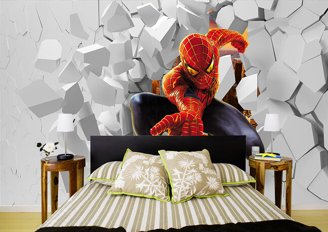 Custom papel DE parede infantil, spiderman 3 d mural for bedroom of children room background wall silk cloth wallpaper custom papel de parede infantil spiderman 3 d mural for bedroom of children room background wall silk cloth wallpaper