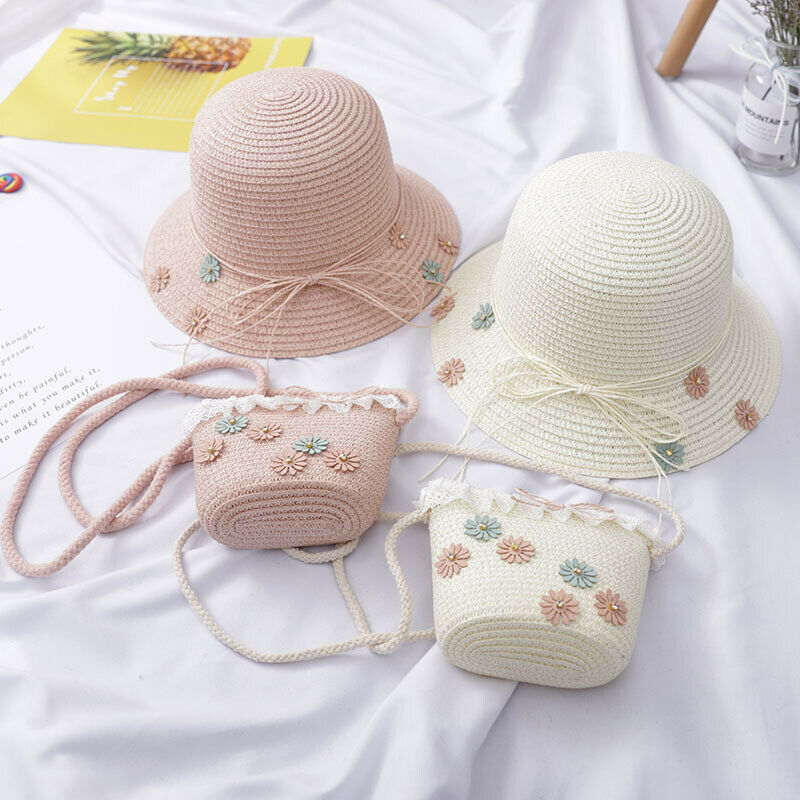 Cap Handbag-Bag Straw-Sun-Hat Beach-Bucket Shoulder Breathable Fashion Girl Newest 2pcs