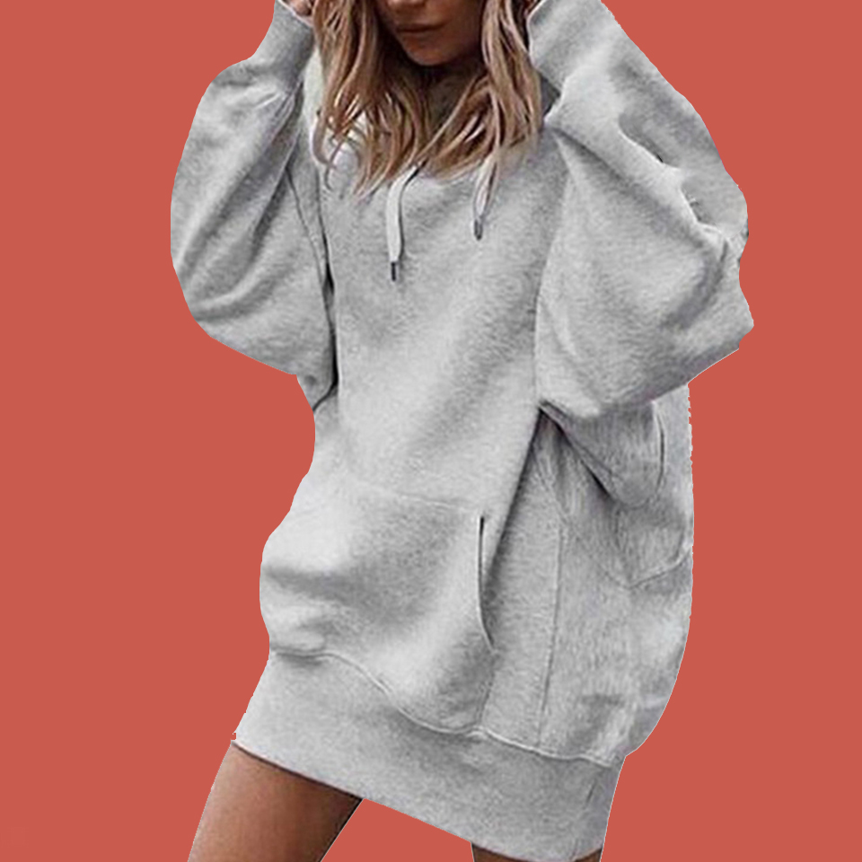 Plain Hooded Lace Up Sweatshirt Oversized Hoodie Dress Poleron Mujer 2019 Tunic Long Sleeve Kangaroo Pocket Hoodie Thick Women