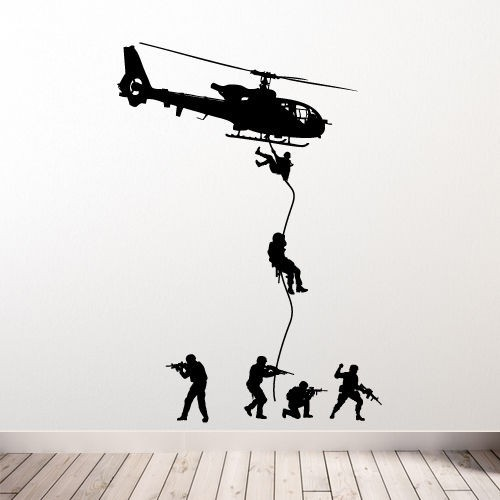 Free Shipping Helicopter Wall Decal Military Soldiers Men