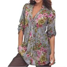 Hot Brand Women Blouses Spring Summer Shirts Plus Size Tops Cardigan Ladies Flower Print V Neck Loose Chiffon Shirt Button S-6XL