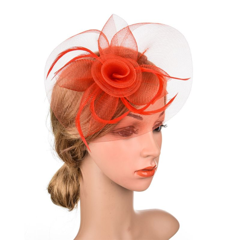 Womens Mesh Veil Hat Hair Clips Elegant Big Rose Flower Solid Color Thin Feathers Bridal Wedding Party Cocktail Headwear Gai