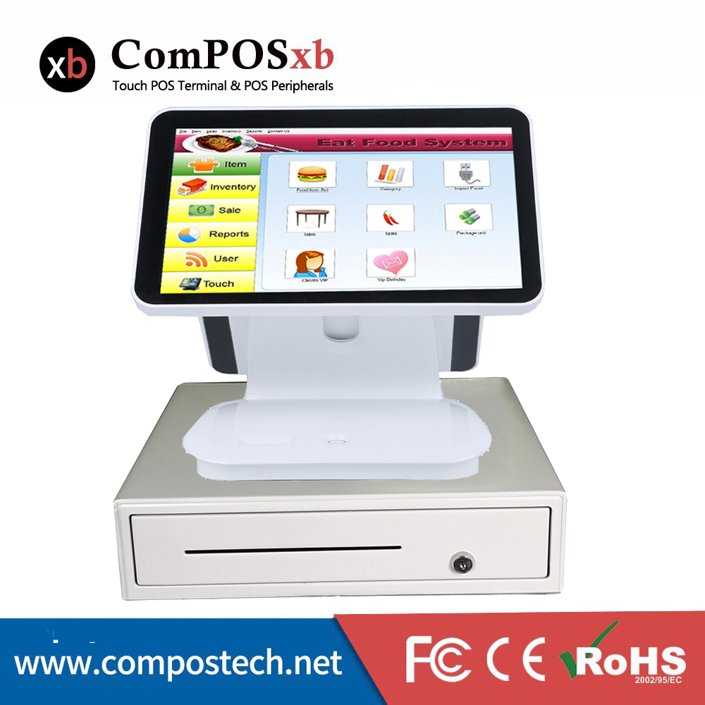 Windows 7 15.6 Inch Capacitive Screen Double Screen Point Of Sale Pos System For Retail Shop
