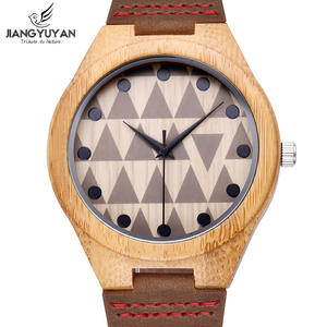 Watch Clock Wooden Bamboo Quartz Men Genuine-Leather Fashion Case Strap Gift Retro Best