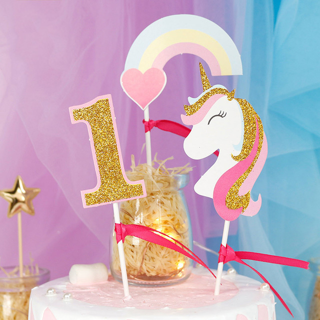 3 Pcs Set Glitter Gold Birthday Unicorn Rainbow Cake Topper For Party Decoration 1st Baby