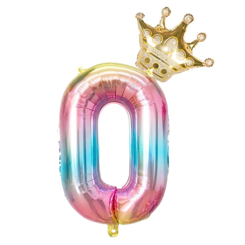 Фольгированные воздушные шары в виде цифр, радужные шары в форме цифр, 2 шт., 32 дюйма, украшение для дня рождения, цвета розового, золотого, розового, серебряного, синего цветов, 0-9 цифр-3