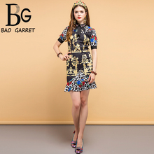 купить Baogarret New 2019 Fashion Designer Summer Vintage Dress Women's Bow Tie Beading Floral Printed Elegant Ladies Mini Dresses дешево
