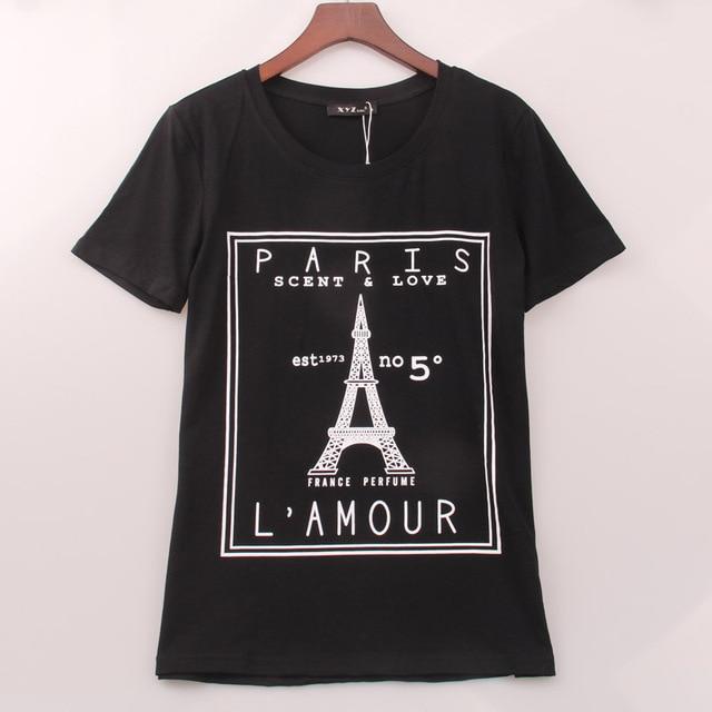 7c37b6a0b1 2018 New Summer T-shirt Women Eiffel Tower Printed Printing T Shirt Women  Tops Tee Shirt Femme Casual Fashion Woman Clothing